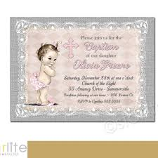 Pink And Gray Burlap Lace Vintage Baby Girl Baptism Invitation Shabby Chic Christening Dedication