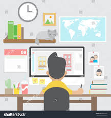 graphic design home office. Graphic Designer Working With Computer In Home Office Workspace Design R