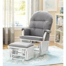 Shermag Bedroom Furniture Shermag Aiden Glider And Ottoman Set White With Grey Fabric