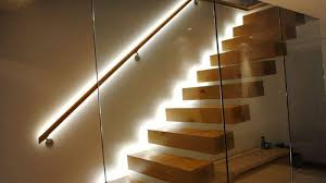 house led lighting. Modern Floating Stair With Wooden Treads And LED Lighting : Illuminate Your House Interior Useful Led