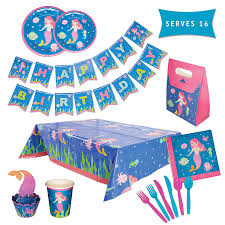 Mermaid Party Supplies Set \u2013 Serving 16 Guests Girls Birthday Decorations for Kids Disposable Table Cover, Plates, Cups, Wrappers, Toppers, Napkins, Amazon.com: