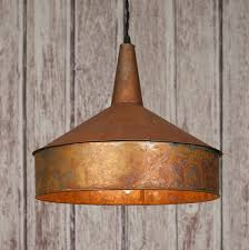 copper lighting fixtures. Weathered Copper Metal Funnel Pendant Lamp Light Lighting Fixtures S