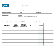 Sample Assessment Form Risk Assessment Form Template Word Document New Sample Forms Free
