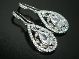 crystal bridal earrings cubic zirconia teardrop earrings crystal chandelier wedding earrings cz dangle earrings bridal prom jewelry 39 00 usd