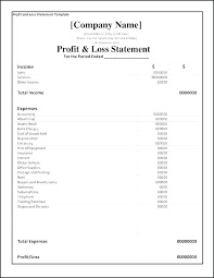 P And L Statement Template Free Financial Download Monthly Profit