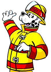 sparky the fire dog. \u201cget out fast when you hear an alarm because big fires start small. once you\u0027re out, call the fire department,\u201d says sparky dog. dog 0