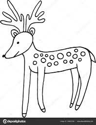Bos Dieren Herten Doodle Cartoon Eenvoudige Illustratie Kinderen