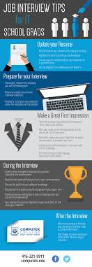 infographic job interview tips for it school grads computek job interview tips for it school grads