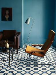 modern tile floors. Blue Living Room With Bold Tile And Mid Century Modern Lounge Chair Floors A