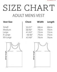 X Large Size Chart Wwwshadehouseconz Size Chart Adult Mens Vest Width Chest