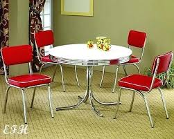retro style dining table new style round retro chrome metal dining table set w 4 red