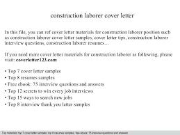 Sample Resume For Laborer Construction Laborer Cover Letter Sample