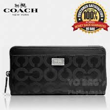 COACH F49983 Madison Acc Zip In Op Art Sateen Fabric Wallet  Black