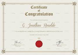 Congratulations Certificates Templates General Format Congratulations Certificate Template