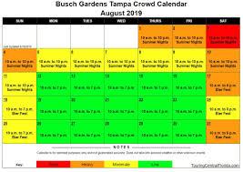 busch gardens ta crowd calendar