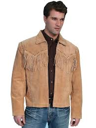 scully men s leather jacket fringe suede zip front jacket bourbon