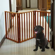 24 in x 54 in wooden freestanding mahogany pet gate