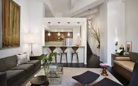 Cool Apartment Decorations White Painted Walls Small Bar Area Glass Table  Top Neutral Colored Furniture ...