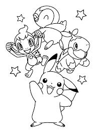 Pokemon Paradijs Kleurplaat Chimcharpiplup Turtwig En Pikachu