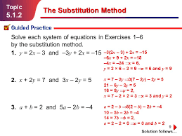 9 topic 5 1 2 guided practice solution follows the substitution method solve each system