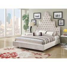 tufted upholstered bed. Honesty Button Tufted Upholstered Bed With Acrylic Legs, Sand Plush