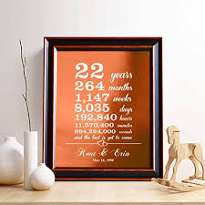 personalized 22nd copper anniversary gift for him or her 22 years and