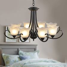 8 light black wrought iron chandelier with glass shades dk 8019 8