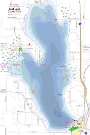 Burt Lake Map Cheboygan County Michigan Fishing Michigan