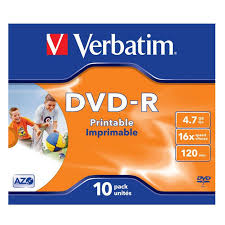 <b>Verbatim DVD</b>-<b>R 4.7GB</b>, 16x, 10шт, Jewel Case, Printable (43521 ...