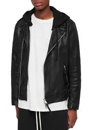 allsaints woodley crinkled leather biker jacket