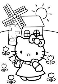 Kleurplaat Hello Kitty Schommel