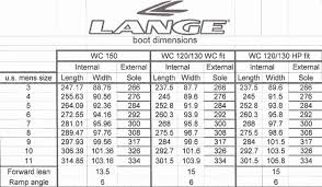 Ski Binding Size Chart Mm 14 Qualified Ski Boot Sole Length Chart