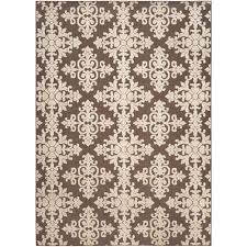 safavieh cottage indoor outdoor brown cream 8 ft x 11 ft area rug cot906d 8 the home depot
