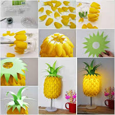interior delicate table lamp of diy project ideas with pineapple shape design in yellow and