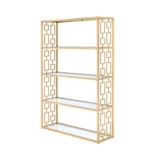 acme furniture blanrio eere clear gl and gold bookcase