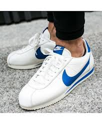 nike cortez leather blue white