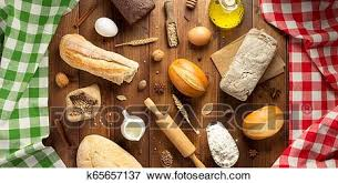 Picture Of Bread And Bakery Ingredients On Wood K65657137 Search