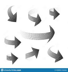 Elements Of Design Space Set Of 3d Arrows Halfton Distorted In Space Elements For