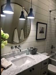 agreeable design mirrored closet. Modern Farmhouse Bathroom, Sw Agreeable Gray, Brass Mirror, Shiplap, Alabaster Design Mirrored Closet I