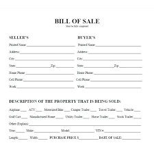 Vehicle Bill Of Sale Template Free Word Document Fillable Pdf