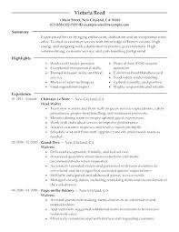 Sample Waiter Resume Restaurant Waiter Resume Food Service Waitress ...