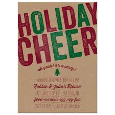 corporate or business office party invitations rustic holiday cheer party invitations front