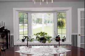 Decorations:Bay Windows Design With Small Curtain Decor Indoor Plants For  Decorating Bay Window With