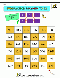 Printables. printable subtraction games: Kindergarten Math Game ...