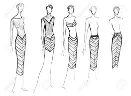 Sketch Of Fashion Model Range Of Clothing With A Diagonal Stripe