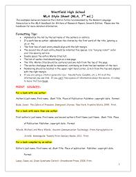 Westfield High School Mla Style Sheet Mla 7 Ed