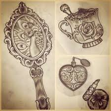 Image Result For Ornate Hand Held Mirrors Drawings  Lynn Pinterest  Tattoo Tatting And Piercings
