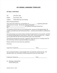 Verbal Warning Sample 13 Verbal Warning Follow Up Letter Templates Free Samples