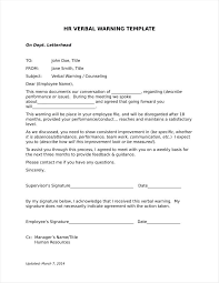 9 verbal warning follow up letter templates free sles