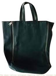 the best céline designer replica vertical gusset cabas green leather tote celine replica handbag